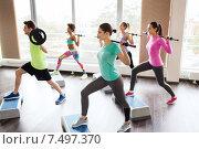 Купить «group of people exercising with barbell in gym», фото № 7497370, снято 5 апреля 2015 г. (c) Syda Productions / Фотобанк Лори