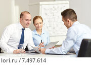 Купить «business people with papers meeting in office», фото № 7497614, снято 25 октября 2014 г. (c) Syda Productions / Фотобанк Лори