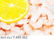 Аппетитные креветки со свежим лимоном. Стоковое фото, фотограф Оксана Дорохина / Фотобанк Лори