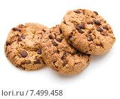 Купить «Chocolate cookies isolated on white background cutout», фото № 7499458, снято 22 октября 2014 г. (c) Natalja Stotika / Фотобанк Лори