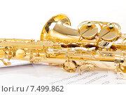 Купить «Альт-саксофон лежит на музыкальных нотах», фото № 7499862, снято 23 февраля 2015 г. (c) Сергей Новиков / Фотобанк Лори