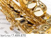 Купить «Альт-саксофон лежит на музыкальных нотах», фото № 7499870, снято 23 февраля 2015 г. (c) Сергей Новиков / Фотобанк Лори