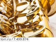Купить «Фрагмент саксофона крупным планом», фото № 7499874, снято 23 февраля 2015 г. (c) Сергей Новиков / Фотобанк Лори