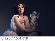 Купить «Красивая женщина в греческой тоге в образе Афродиты», фото № 7501018, снято 12 мая 2015 г. (c) Дмитрий Черевко / Фотобанк Лори
