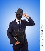 Купить «Man with mask isolated on white», фото № 7504206, снято 26 октября 2012 г. (c) Elnur / Фотобанк Лори