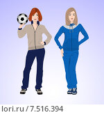 Две спортивных женщины с футбольным мячом. Стоковая иллюстрация, иллюстратор Портнова Екатерина / Фотобанк Лори