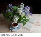 Купить «Утренний чай и букет сирени на столе», фото № 7525258, снято 2 июня 2015 г. (c) Наталия Ромашова / Фотобанк Лори