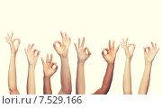 Купить «human hands showing ok sign», фото № 7529166, снято 27 января 2020 г. (c) Syda Productions / Фотобанк Лори