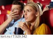Купить «friends watching horror movie in theater», фото № 7529342, снято 19 января 2015 г. (c) Syda Productions / Фотобанк Лори