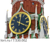 Купить «Часы на Спасской башне в Москве», фото № 7530002, снято 24 мая 2015 г. (c) Алексей Ларионов / Фотобанк Лори