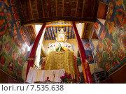 Купить «Будда Майтрейя. Гигантская статуя в храме монастыря Намгьял Тсемо (Namgyal Tsemo) украшенного древними настенными росписями г.Лех (Leh) в Ладакхе, северная Индия.», фото № 7535638, снято 20 июня 2012 г. (c) Олег Иванов / Фотобанк Лори