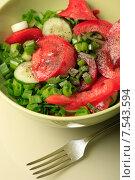 Купить «Салат из свежих помидоров и огурцов с зеленым луком в миске», эксклюзивное фото № 7543594, снято 11 июня 2015 г. (c) Яна Королёва / Фотобанк Лори