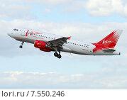 Купить «Airbus A319 (бортовой VP-BDZ) авиакомпании Vim Airlines вылетает из Домодедова», эксклюзивное фото № 7550246, снято 9 июня 2015 г. (c) Alexei Tavix / Фотобанк Лори
