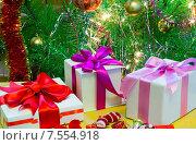 Купить «Красиво упакованный подарок на Рождество под елкой», фото № 7554918, снято 31 января 2014 г. (c) Galina Tolochko / Фотобанк Лори