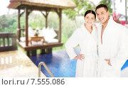 Купить «happy couple in bathrobes over spa hotel resort», фото № 7555086, снято 4 мая 2013 г. (c) Syda Productions / Фотобанк Лори
