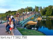 """Купить «Москва. Парк """"Царицыно"""". Вид на пешеходный мосту через пруд», эксклюзивное фото № 7582750, снято 12 июня 2015 г. (c) Татьяна Белова / Фотобанк Лори"""