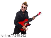 Купить «Man guitar player isolated on white», фото № 7598262, снято 19 января 2015 г. (c) Elnur / Фотобанк Лори