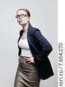 Красивая деловая женщина в очках. Стоковое фото, фотограф Дмитрий Булин / Фотобанк Лори