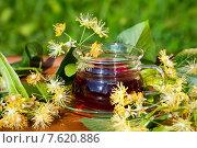 Купить «Чашка с липовым чаем в цветах липы на деревянном столе», фото № 7620886, снято 25 июня 2015 г. (c) Татьяна Белова / Фотобанк Лори