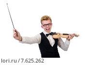 Купить «Funny violin player isolated on white», фото № 7625262, снято 27 января 2014 г. (c) Elnur / Фотобанк Лори