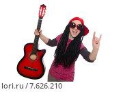 Купить «Woman guitar player isolated on white», фото № 7626210, снято 21 февраля 2015 г. (c) Elnur / Фотобанк Лори