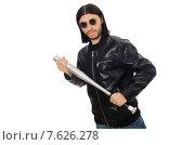 Купить «Aggressive man with baseball bat on white», фото № 7626278, снято 18 февраля 2015 г. (c) Elnur / Фотобанк Лори