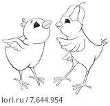 Цыплята, контурный рисунок. Стоковая иллюстрация, иллюстратор Рада Коваленко / Фотобанк Лори