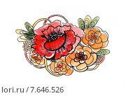 Букет, акварельный рисунок. Стоковая иллюстрация, иллюстратор Марина Комиссарова / Фотобанк Лори