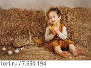 Мальчик сидит среди брикетов соломы с двумя утятами. Стоковое фото, фотограф Olena Kravchuk / Фотобанк Лори