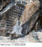 Купить «Script written on a rock in Bhutan», фото № 7650654, снято 17 октября 2010 г. (c) Ingram Publishing / Фотобанк Лори