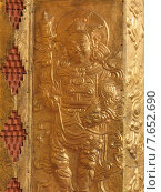 Detail of carvings on a wall of Punakha Monastery, Punakha, Bhutan (2010 год). Стоковое фото, фотограф Keith Levit / Ingram Publishing / Фотобанк Лори