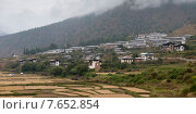 Agricultural fields with town in the background, Paro District, Bhutan (2010 год). Стоковое фото, фотограф Keith Levit / Ingram Publishing / Фотобанк Лори
