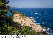 Вид с берега на Средиземное море. Бланес. Испания. Стоковое фото, фотограф Валерий Апальков / Фотобанк Лори