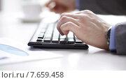 Купить «close up of businessman typing and drinking coffee», видеоролик № 7659458, снято 4 апреля 2015 г. (c) Syda Productions / Фотобанк Лори