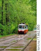 Купить «Город Москва, трамвай едет по улице Дубки», эксклюзивное фото № 7662850, снято 16 мая 2015 г. (c) Dmitry29 / Фотобанк Лори