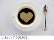 Купить «cup of black coffee with heart shape and spoon», фото № 7666638, снято 21 февраля 2015 г. (c) Syda Productions / Фотобанк Лори
