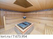 Купить «Hot wooden sauna room interior», фото № 7673954, снято 20 июня 2015 г. (c) Elnur / Фотобанк Лори