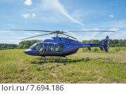 Купить «Легкий многоцелевой вертолет Bell 407 на аэродроме Шевлино», фото № 7694186, снято 13 июня 2015 г. (c) Сайганов Александр / Фотобанк Лори