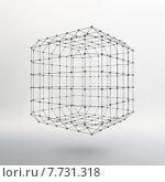 Купить «Трехмерный каркас куба из линий и точек. Молекулярная решетка», иллюстрация № 7731318 (c) Владимир Хапаев / Фотобанк Лори