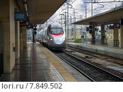 Купить «Поезд прибывает на станцию Болонья в Италии», фото № 7849502, снято 3 мая 2014 г. (c) Николай Кокарев / Фотобанк Лори