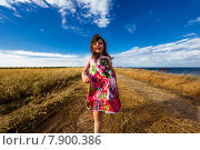 Девочка в ярком платье идёт по сельской дороге. Стоковое фото, фотограф Оксюта Виктор / Фотобанк Лори