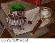 Детектив совушка. Стоковая иллюстрация, иллюстратор Елена Саморядова / Фотобанк Лори