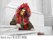 Купить «man mask carnival venice revetment», фото № 8037906, снято 21 августа 2019 г. (c) PantherMedia / Фотобанк Лори