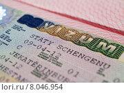 Купить «Шенгенская виза в паспорте гражданина  Екатеринбурга», фото № 8046954, снято 24 июля 2015 г. (c) Сергеев Валерий / Фотобанк Лори