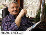 Купить «man home senior newspaper pensioner», фото № 8052034, снято 20 февраля 2018 г. (c) PantherMedia / Фотобанк Лори