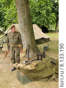 Купить «Пулеметчик европейской армии, инсталляция», фото № 8133190, снято 21 июля 2015 г. (c) Эдуард Цветков / Фотобанк Лори