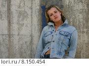Купить «sexy alone blond wall jeans», фото № 8150454, снято 17 сентября 2019 г. (c) PantherMedia / Фотобанк Лори