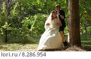 Купить «Жених качает невесту в парке, они целуются и уходят», видеоролик № 8286954, снято 18 июня 2015 г. (c) Tatiana Kravchenko / Фотобанк Лори