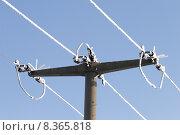 Купить «mast insulator traverse high tension», фото № 8365818, снято 23 мая 2019 г. (c) PantherMedia / Фотобанк Лори