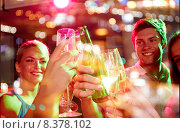 Купить «smiling friends with wine glasses and beer in club», фото № 8378102, снято 20 октября 2014 г. (c) Syda Productions / Фотобанк Лори